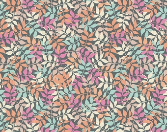 Gray Leaves Fabric - Meadow Lane Fabric - Sara Davies - Riley Blake Designs - Leaves Fabric - Leaf Fabric - Sold by the Yard