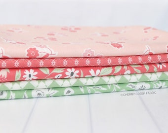Garden Variety Pink & Green One Yard Bundle Fabric - Lella Boutique - 5 pieces