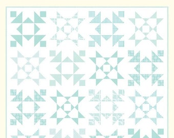 """Snowflakes Quilt Pattern - Bonnie Olaveson - Cotton Way - Moda Fabric - Vintage Holiday Fabric - 68"""" x 68"""" Quilt"""