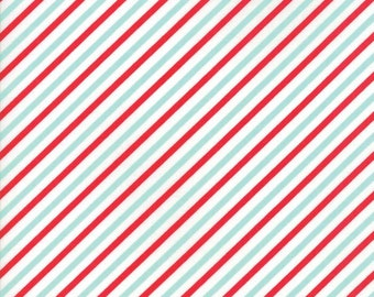 Vintage Holiday Flannel - Red Aqua Candy Stripe Flannel Fabric - Bonnie & Camille - Sold by the Yard