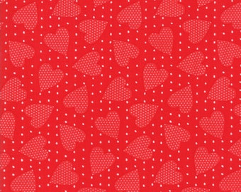 REDiculously In Love Fabric - Red on Red Heart Felt Fabric - My & My Sister - Moda Fabric - Valentine's Fabric - Sold by the Yard