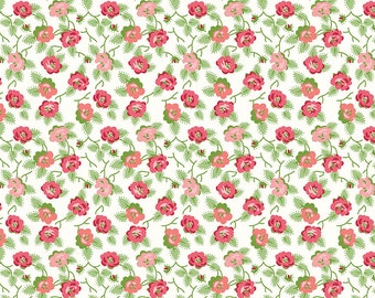 Pink Retro Floral Fabric - Granny Chic - Lori Holt - Riley Blake Designs - Blue Dishes Fabric - Floral Fabric - Sold by the Yard