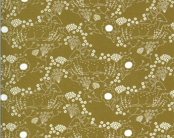 Umber Meadow Deer Fabric - Dwell In Possibilities - Gingiber - Moda Fabrics - Deer Fabric - Flower Fabric - Sold by the Yard