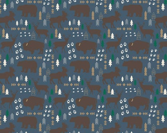 SALE | High Adventure 2 - Blue Main Fabric - Design by Dani - Sold by Half Yard - Sold by the Yard