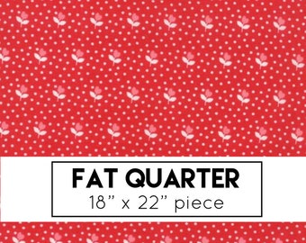 FAT QUARTER | Red Flower Bud Fabric - All Weather Friend Fabric - April Rosenthal - Moda Fabrics - Floral Fabric - Flower Fabric
