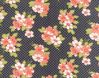 Farmhouse II Fabric - Black Basketweave Posies Fabric - Fig Tree & Co - Moda Fabric - Floral Fabric - Sold by the Yard