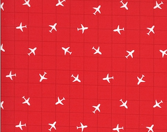 Red Airplane Fabric - On the Go - Stacy Iest Hsu - Moda Fabrics - Transportation Fabric - Airplane Fabric - Sold by the Yard