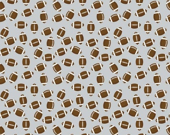 Varsity Fabric - Gray Football Fabric - Deena Rutter - Riley Blake Designs - Football Fabric - Sports Fabric - Sold by the Yard