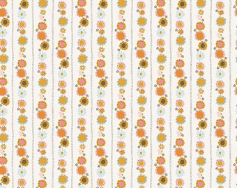 Guinevere - Cream Daisy Chain Fabric - Citrus & Mint - Riley Blake Designs - Sold by the Yard