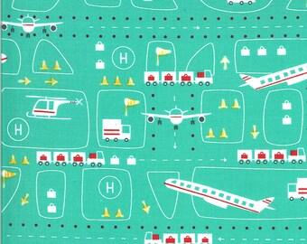 Aqua Take Off Fabric - On the Go - Stacy Iest Hsu - Moda Fabrics - Car Fabric - Boy Fabric - Truck Fabric - Sold by the Yard