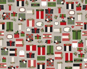 SALE | Gray Christmas Presents Fabric - Christmas Delivery Fabric - Carta Bella - Riley Blake Designs - Sold by the Yard