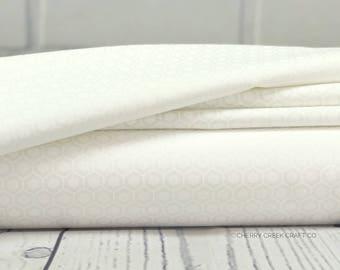 Muslin Mates - White Hexagon Fabric - Moda Fabrics - Tone on Tone Fabric - Background Fabric - Sold by Half Yard