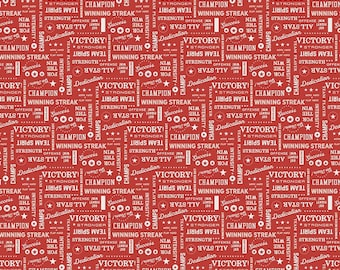 Varsity Fabric - Red Sports Text Fabric - Deena Rutter - Riley Blake Designs - Text Fabric - Sports Fabric - Sold by the Yard