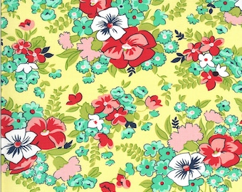 Yellow Meadow Fabric - Shine On Fabric - Bonnie and Camille - Moda Fabric - Flower Fabric - Floral Fabric - Sold by the Yard