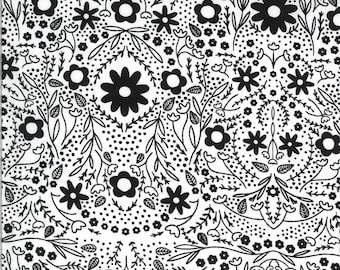 Ivory Black Full Bloom Fabric - Dwell In Possibilities - Gingiber - Moda Fabrics - Moth Fabric - Flower Fabric - Sold by the Yard