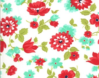 White Blossoms Floral Fabric - Shine On Fabric - Bonnie and Camille - Moda Fabric - Flower Fabric - Floral Fabric - Sold by the Yard
