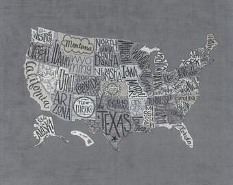 Metropolis Fabric - Grey US Map Panel Fabric - Basic Grey - Moda Fabric - United States Map - Map Fabric - US Fabric