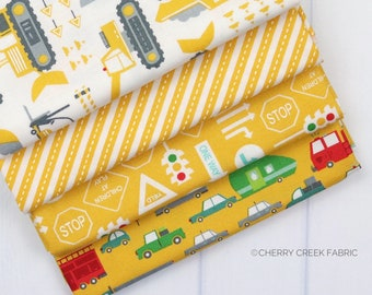 On the Go Yellow Fat Quarter - Stacy Iest Hsu - Moda Fabrics - Car Fabric - Boy Fabric - Truck Fabric - 4 pieces