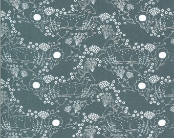 Sky Meadow Deer Fabric - Dwell In Possibilities - Gingiber - Moda Fabrics - Deer Fabric - Flower Fabric - Sold by the Yard