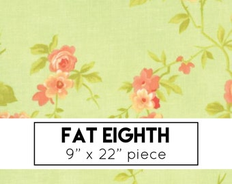 FAT EIGHTH | Chantilly Fabric - Green Rose Fabric - Fig Tree & Co - Moda Fabric - Floral Fabric - Flower Fabric