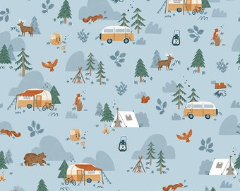 Sky Blue Woodland Fabric - Natàlia Juan Abelló - Riley Blake Fabrics - Outdoor Fabric - Animal Bundle - Camping Fabric - Sold by the Yard