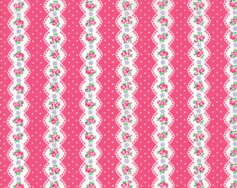 Guest Room Fabric - Dark Pink Floral Stripe Fabric - Kristyne Czepuryk - Moda Fabric - Floral Fabric - Stripe Fabric - Sold by the Yard