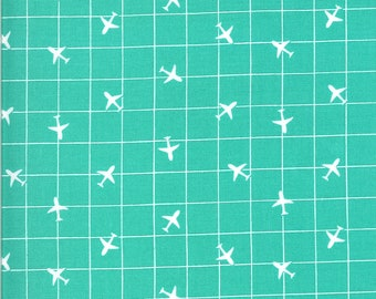 Aqua Airplane Fabric - On the Go - Stacy Iest Hsu - Moda Fabrics - Transportation Fabric - Airplane Fabric - Sold by the Yard