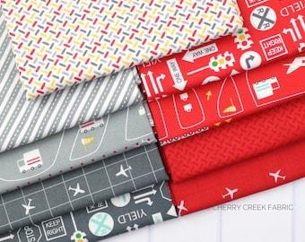 On the Go Grey & Red Fat Quarter - Stacy Iest Hsu - Moda Fabrics - Car Fabric - Boy Fabric - Truck Fabric - 9 pieces