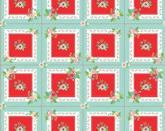 Vintage Keepsakes Fabric - Aqua Handkerchief Fabric - Beverly McCullough - Riley Blake Designs - Flower Fabric - Sold by the Yard