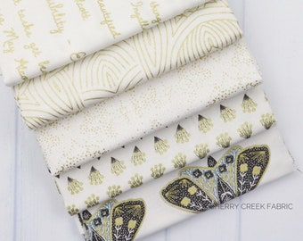 Dwell In Possibilities Gold Fat Quarter Bundle - Gingiber - Moda Fabrics - Metallic Fabric - Low Volume Fabric - Moth Fabric - 5 pieces