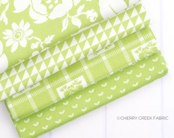 Shine On Green Fat Quarter Bundle - Shine On Fabric - Bonnie and Camille - Moda Fabric - Flower Fabric - 4 pieces