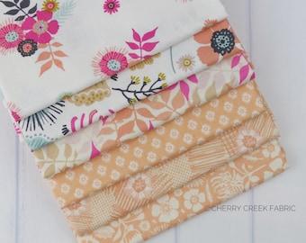 Meadow Lane Melon Fat Quarter Bundle - Meadow Lane - Sara Davies - Riley Blake Designs - Flower Fabric - Floral Fabric - 6 pieces