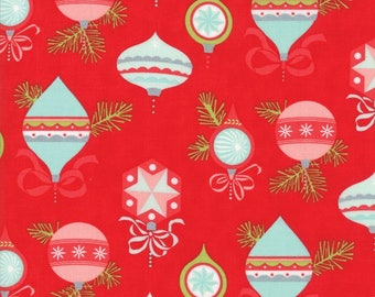 Vintage Holiday Flannel - Red Vintage Ornaments Flannel Fabric - Bonnie & Camille - Sold by the Yard