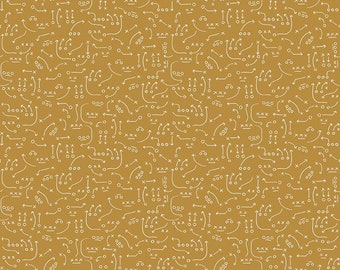 Varsity Fabric - Gold Playbook Fabric - Deena Rutter - Riley Blake Designs - Playbook Fabric - Sports Fabric - Sold by the Yard