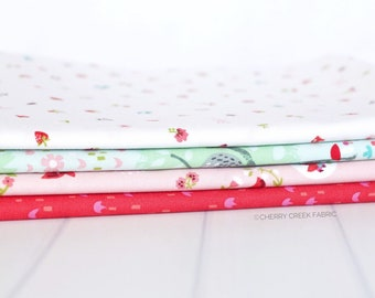 Little Red in the Woods Aqua One Yard Bundle - Jill Howarth - 4 pieces