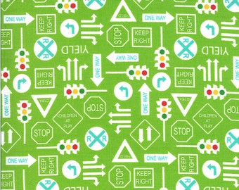 Green It's a Sign Fabric - On the Go - Stacy Iest Hsu - Moda Fabrics - Tractor Fabric - Construction Fabric - Sold by the Yard