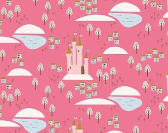 5 Yard Quilt Backing | Guinevere - Hot Pink Castle Fabric - Citrus & Mint - Riley Blake Designs