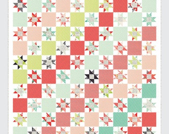 """Candy Stripes Quilt Pattern - Thimble Blossoms Pattern - Camille Roskelley - Bonnie and Camille - Layer Cake Pattern - 64"""" x 70"""" Quilt"""