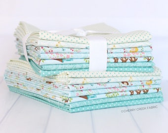 Home Sweet Home Blue Half Yard Bundle - Stacy Iest Hsu - Moda Fabrics - Moda Fabric Bundle - Half Yard Bundle - 7 pieces