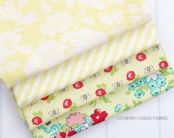 Shine On Yellow Fat Quarter Bundle - Shine On Fabric - Bonnie and Camille - Moda Fabric - Flower Fabric - 4 pieces