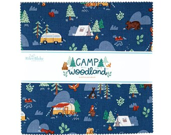 Camp Woodland Layer Cake - Natàlia Juan Abelló - Riley Blake Fabrics - Outdoor Fabric - Animal Bundle - Camping Fabric - 42 pieces