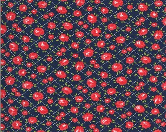 Navy Roses Fabric - Shine On Fabric - Bonnie and Camille - Moda Fabric - Flower Fabric - Floral Fabric - Sold by the Yard