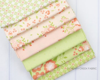 Apricot & Ash Green and Peach Fat Quarter Bundle - Corey Yoder - Moda Fabrics - Floral Fabric - Flower Fabric - 7 pieces