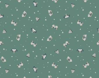 Pine Green Moths Fabric - Natàlia Juan Abelló - Riley Blake Fabrics - Outdoor Fabric - Moth Fabric - Green Fabric - Sold by the Yard