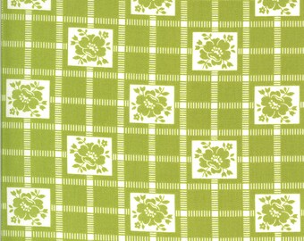 Green Check Fabric - Shine On Fabric - Bonnie and Camille - Moda Fabric - Flower Fabric - Geometric Fabric - Sold by the Yard