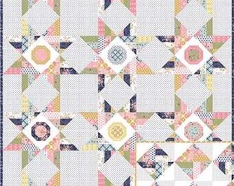 "Wildflowers Quilt Pattern - Keera Job - Star Quilt Pattern - Fat Quarter Pattern - 72"" x 96"" Quilt"