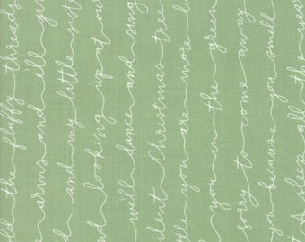 Little Tree Fabric - Green Christmas Poem Fabric - Lella Boutique - Moda Fabrics - Christmas Fabric - Holiday Fabric - Sold by the Yard