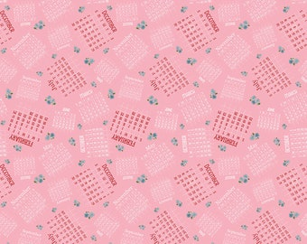 Date Night Fabric - Pink Date Book Fabric - Fabric Mutt