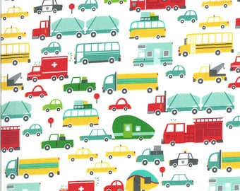White Beep Beep Fabric - On the Go - Stacy Iest Hsu - Moda Fabrics - Car Fabric - Boy Fabric - Truck Fabric - Sold by the Yard