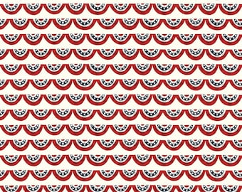 Celebrate America Fabric - Cream Banners Fabric - Echo Park Paper Co. - Riley Blake Designs - Patriotic Fabric - Sold by the Yard
